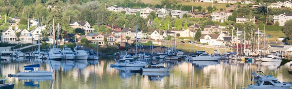 Panoramic view of Gig Harbor, WA, in the summer time.