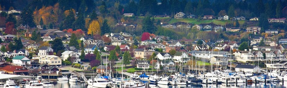 Panoramic view of Gig Harbor, WA, in the Fall