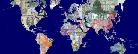 Detailed map of the world in all the world's currencies.