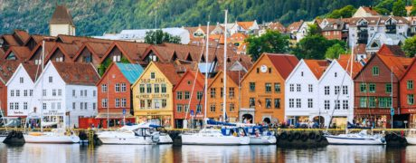 Picturesque photo of a colorful seaside town in Norway.