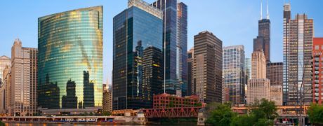 A panoramic picture of high rises in downtown Chicago.