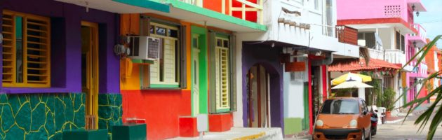 Colorful, quaint small city street in Central America