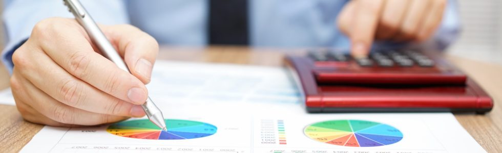 Hands of a man reviewing pie chart for asset allocation