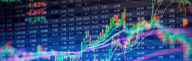 Stock market data displayed on LED monitor